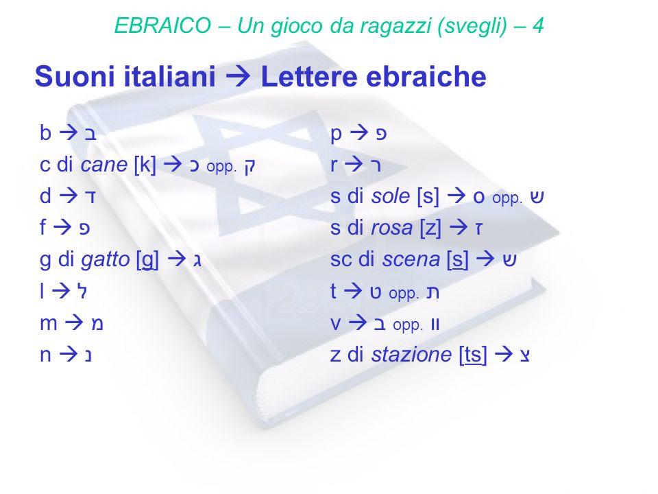 Suoni italiani Lettere ebraiche EBRAICO – Un gioco da ragazzi (svegli) – 4 b ב c di cane [k] כ opp. ק d ד f פ g di gatto [g] ג l ל m מ n נ p פ r ר s d