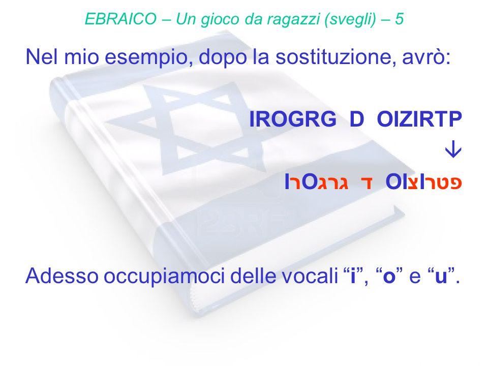 Nel mio esempio, dopo la sostituzione, avrò: IROGRG D OIZIRTP IרOגרג ד OIצIפטר Adesso occupiamoci delle vocali i, o e u. EBRAICO – Un gioco da ragazzi