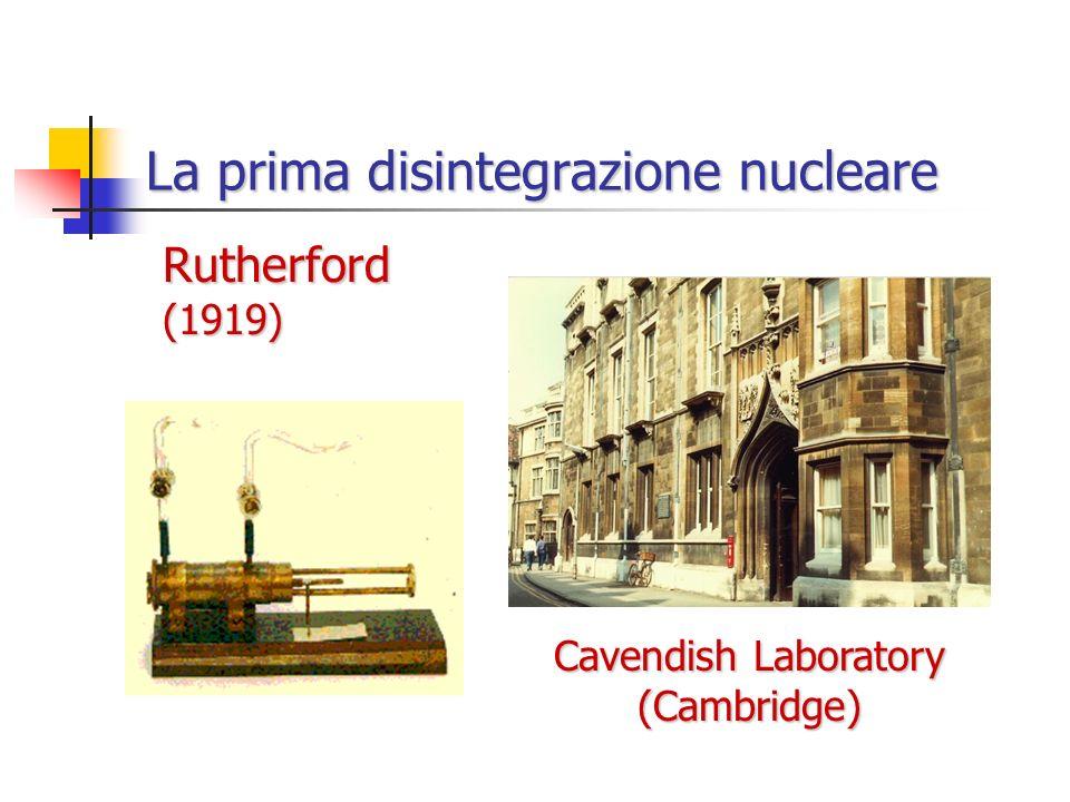 La prima disintegrazione nucleare Rutherford (1919) Cavendish Laboratory (Cambridge)