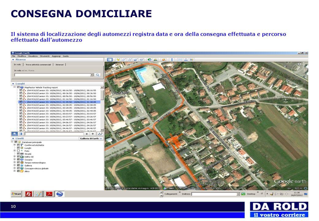 10 CONSEGNA DOMICILIARE Il sistema di localizzazione degli automezzi registra data e ora della consegna effettuata e percorso effettuato dallautomezzo
