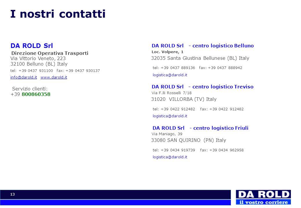 13 I nostri contatti DA ROLD Srl Direzione Operativa Trasporti Via Vittorio Veneto, 223 32100 Belluno (BL) Italy tel: +39 0437 931100 fax: +39 0437 93