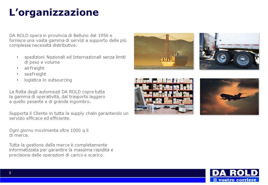 2 Lorganizzazione DA ROLD opera in provincia di Belluno dal 1956 e fornisce una vasta gamma di servizi a supporto delle più complesse necessità distri