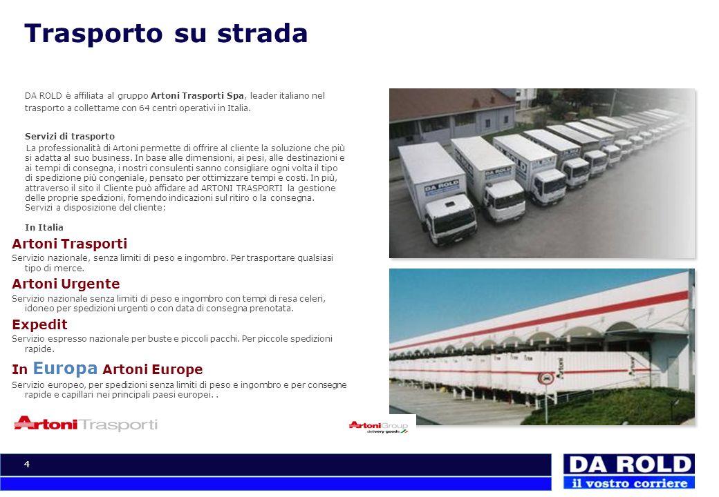 4 Trasporto su strada DA ROLD è affiliata al gruppo Artoni Trasporti Spa, leader italiano nel trasporto a collettame con 64 centri operativi in Italia