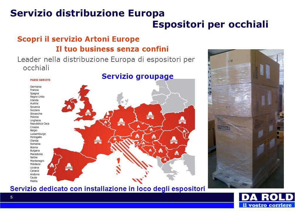 5 Servizio distribuzione Europa Espositori per occhiali Scopri il servizio Artoni Europe Il tuo business senza confini Leader nella distribuzione Euro