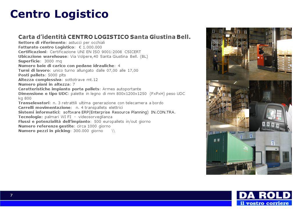 7 Centro Logistico Carta didentità CENTRO LOGISTICO Santa Giustina Bell. Settore di riferimento: astucci per occhiali Fatturato centro Logistico: 1.00