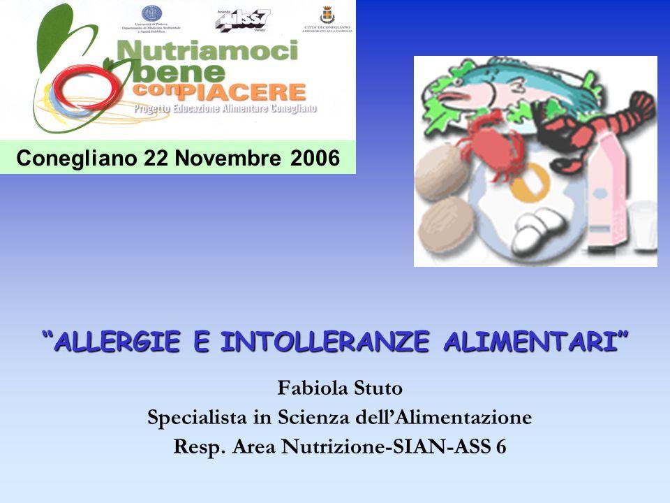 ALLERGIE E INTOLLERANZE ALIMENTARI Fabiola Stuto Specialista in Scienza dellAlimentazione Resp. Area Nutrizione-SIAN-ASS 6 Conegliano 22 Novembre 2006