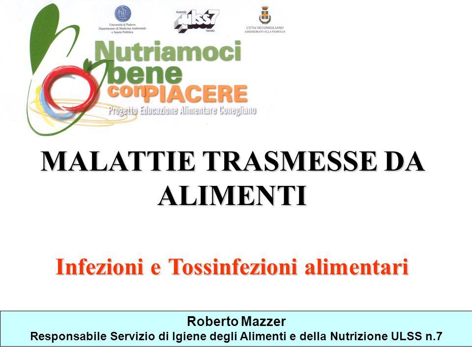 MALATTIE TRASMESSE DA ALIMENTI Infezioni e Tossinfezioni alimentari Roberto Mazzer Responsabile Servizio di Igiene degli Alimenti e della Nutrizione U