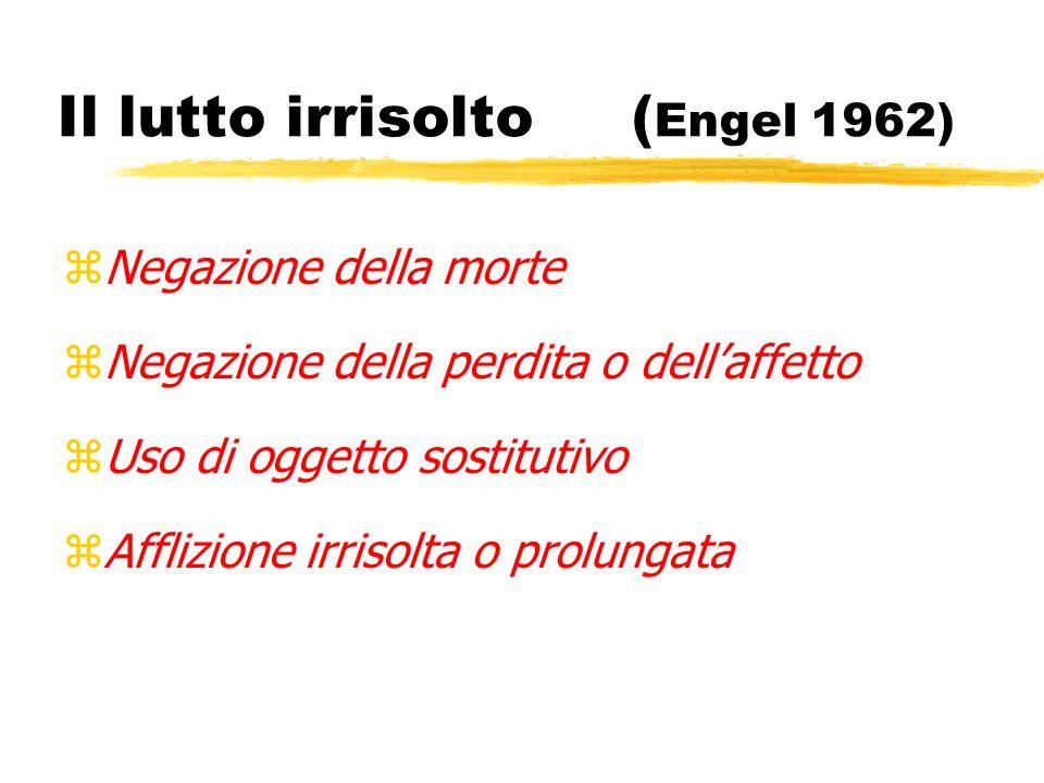 Il lutto irrisolto ( Engel 1962) zNegazione della morte zNegazione della perdita o dellaffetto zUso di oggetto sostitutivo zAfflizione irrisolta o pro