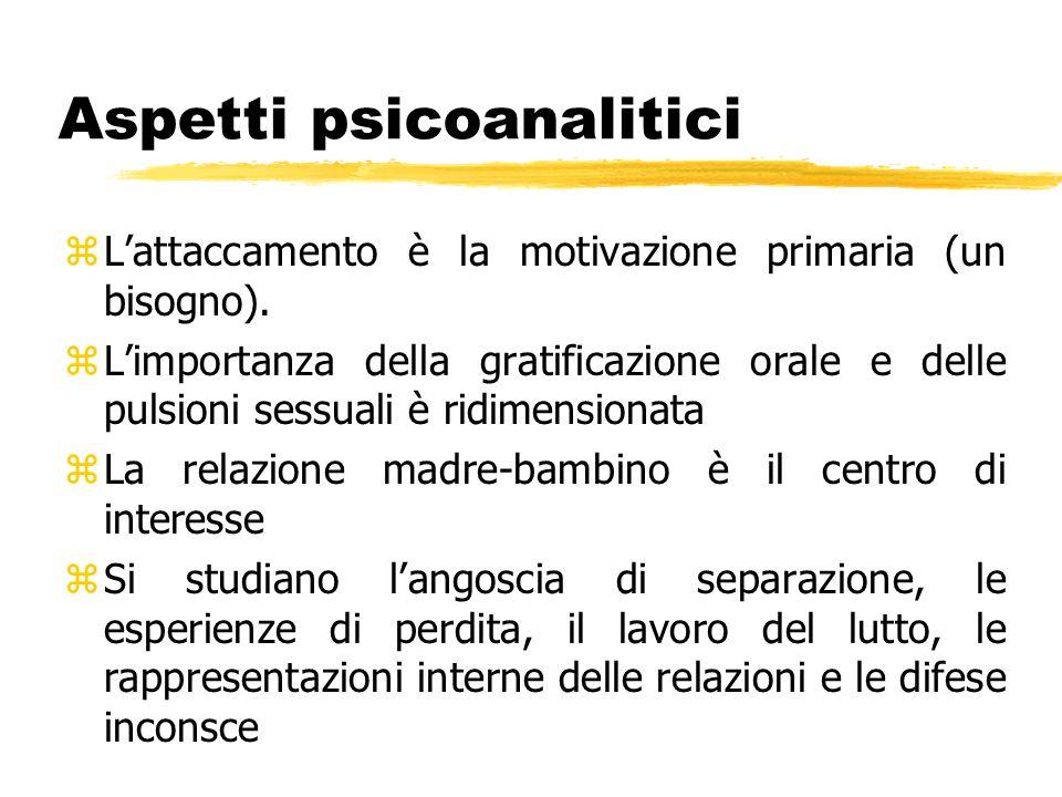 Aspetti psicoanalitici zLattaccamento è la motivazione primaria (un bisogno). zLimportanza della gratificazione orale e delle pulsioni sessuali è ridi