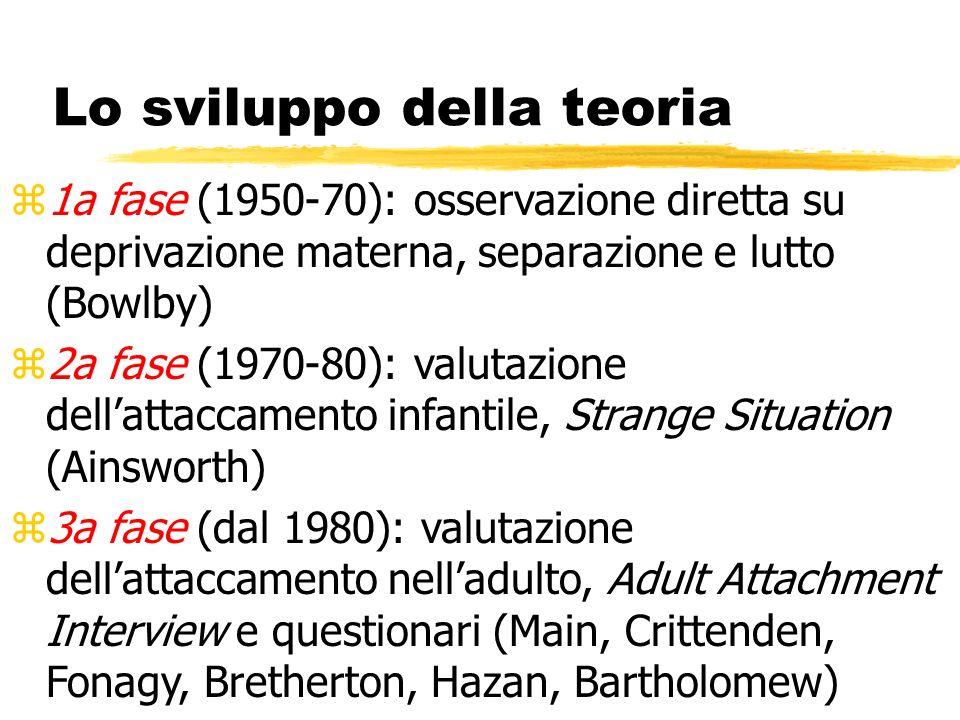 Lo sviluppo della teoria z1a fase (1950-70): osservazione diretta su deprivazione materna, separazione e lutto (Bowlby) z2a fase (1970-80): valutazion