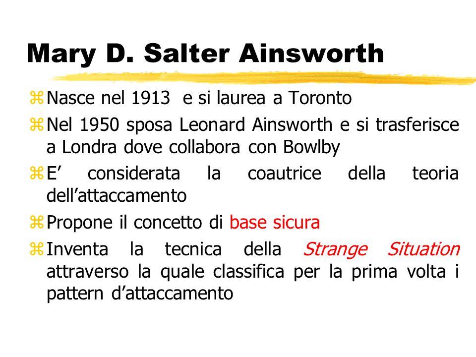 Mary D. Salter Ainsworth zNasce nel 1913 e si laurea a Toronto zNel 1950 sposa Leonard Ainsworth e si trasferisce a Londra dove collabora con Bowlby z
