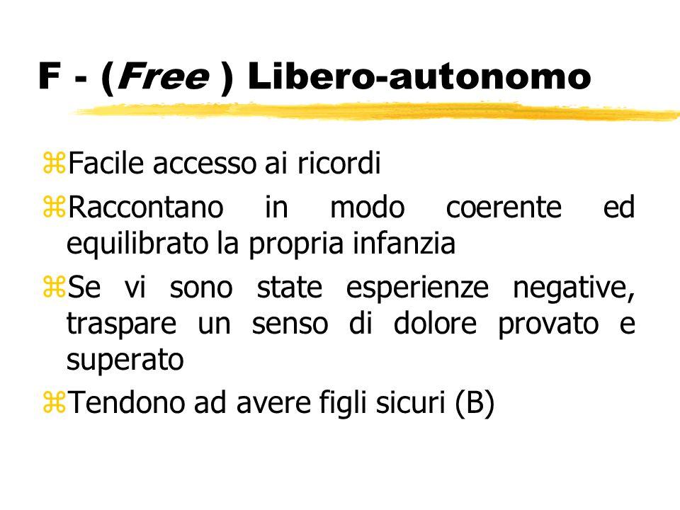 F - (Free ) Libero-autonomo zFacile accesso ai ricordi zRaccontano in modo coerente ed equilibrato la propria infanzia zSe vi sono state esperienze ne