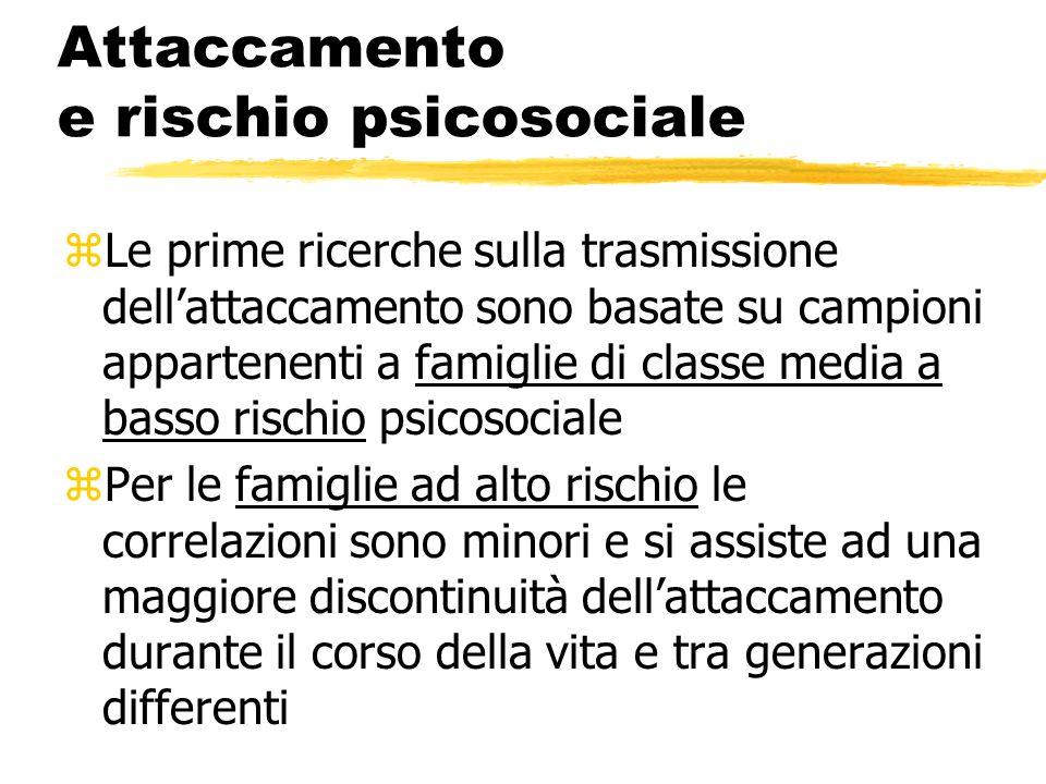 Attaccamento e rischio psicosociale zLe prime ricerche sulla trasmissione dellattaccamento sono basate su campioni appartenenti a famiglie di classe m