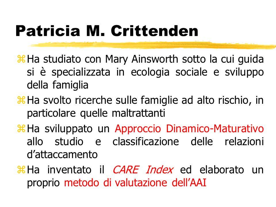 Patricia M. Crittenden zHa studiato con Mary Ainsworth sotto la cui guida si è specializzata in ecologia sociale e sviluppo della famiglia zHa svolto