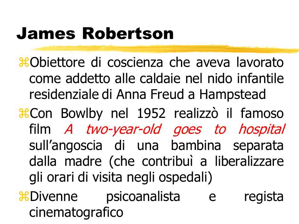 James Robertson zObiettore di coscienza che aveva lavorato come addetto alle caldaie nel nido infantile residenziale di Anna Freud a Hampstead zCon Bo