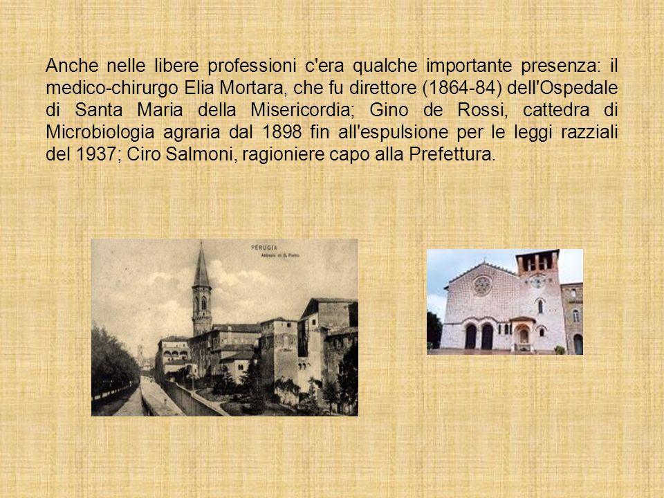 Anche nelle libere professioni c'era qualche importante presenza: il medico-chirurgo Elia Mortara, che fu direttore (1864-84) dell'Ospedale di Santa M