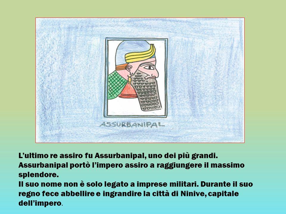 Lultimo re assiro fu Assurbanipal, uno dei più grandi. Assurbanipal portò limpero assiro a raggiungere il massimo splendore. Il suo nome non è solo le