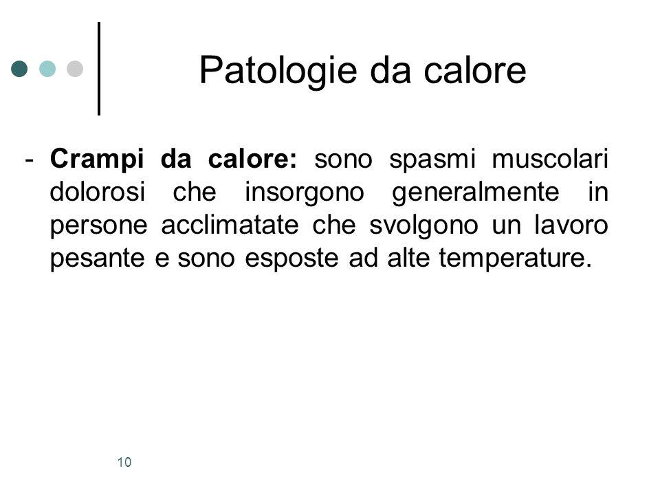 10 Patologie da calore - Crampi da calore: sono spasmi muscolari dolorosi che insorgono generalmente in persone acclimatate che svolgono un lavoro pes