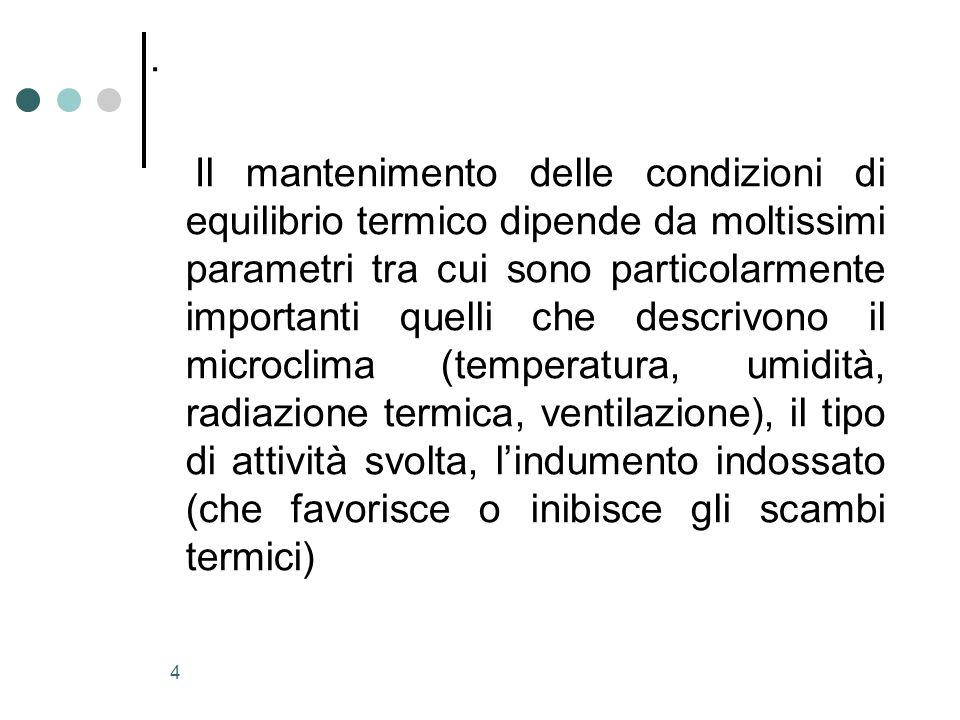 4. Il mantenimento delle condizioni di equilibrio termico dipende da moltissimi parametri tra cui sono particolarmente importanti quelli che descrivon