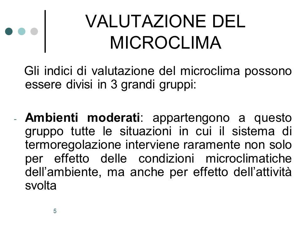 5 VALUTAZIONE DEL MICROCLIMA Gli indici di valutazione del microclima possono essere divisi in 3 grandi gruppi: - Ambienti moderati: appartengono a qu