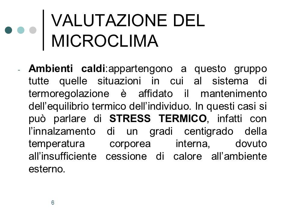 6 VALUTAZIONE DEL MICROCLIMA - Ambienti caldi:appartengono a questo gruppo tutte quelle situazioni in cui al sistema di termoregolazione è affidato il
