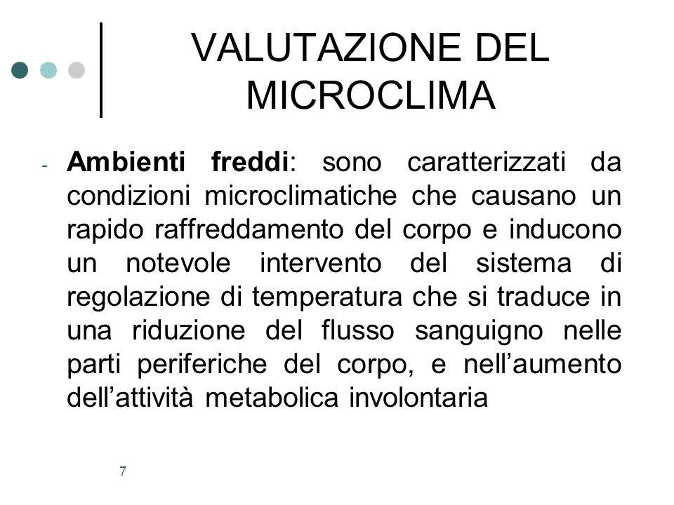 7 VALUTAZIONE DEL MICROCLIMA - Ambienti freddi: sono caratterizzati da condizioni microclimatiche che causano un rapido raffreddamento del corpo e ind