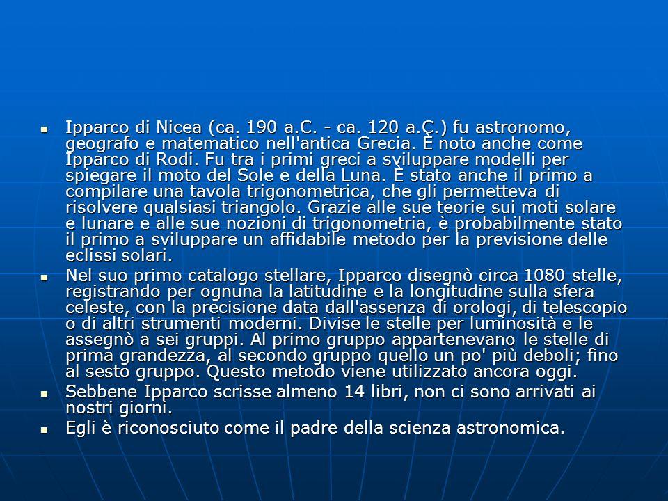 Ipparco di Nicea (ca. 190 a.C. - ca. 120 a.C.) fu astronomo, geografo e matematico nell'antica Grecia. È noto anche come Ipparco di Rodi. Fu tra i pri