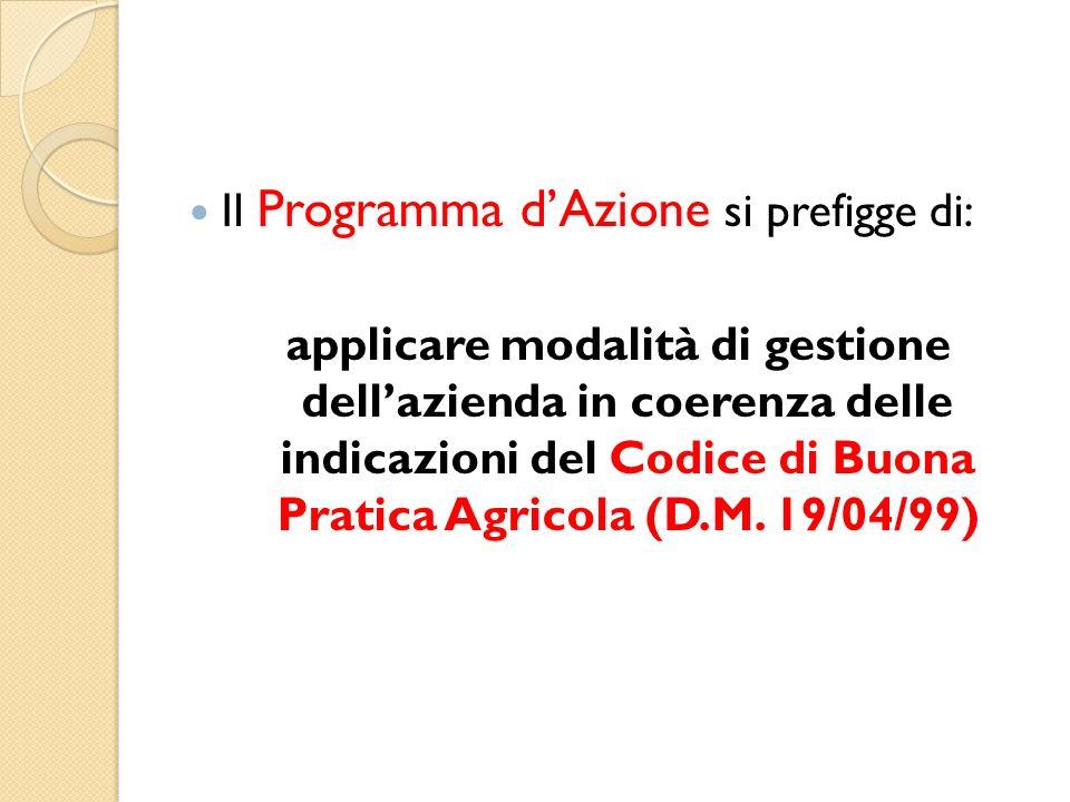Il Programma dAzione si prefigge di: applicare modalità di gestione dellazienda in coerenza delle indicazioni del Codice di Buona Pratica Agricola (D.M.