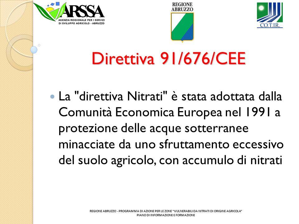 Direttiva 91/676/CEE La direttiva Nitrati è stata adottata dalla Comunità Economica Europea nel 1991 a protezione delle acque sotterranee minacciate da uno sfruttamento eccessivo del suolo agricolo, con accumulo di nitrati REGIONE ABRUZZO - PROGRAMMA DI AZIONE PER LE ZONE VULNERABILI DA NITRATI DI ORIGINE AGRICOLA PIANO DI INFORMAZIONE E FORMAZIONE