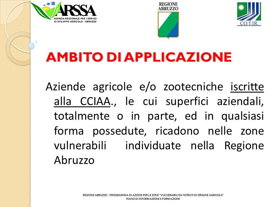 AMBITO DI APPLICAZIONE Aziende agricole e/o zootecniche iscritte alla CCIAA., le cui superfici aziendali, totalmente o in parte, ed in qualsiasi forma possedute, ricadono nelle zone vulnerabili individuate nella Regione Abruzzo REGIONE ABRUZZO - PROGRAMMA DI AZIONE PER LE ZONE VULNERABILI DA NITRATI DI ORIGINE AGRICOLA PIANO DI INFORMAZIONE E FORMAZIONE