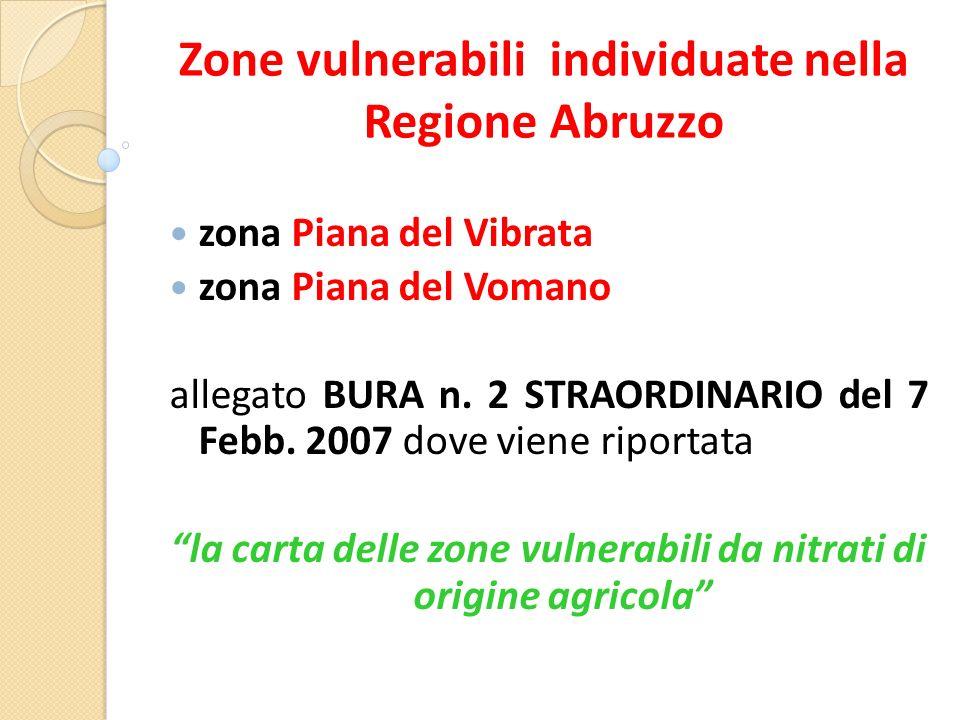 Zone vulnerabili individuate nella Regione Abruzzo zona Piana del Vibrata zona Piana del Vomano allegato BURA n.