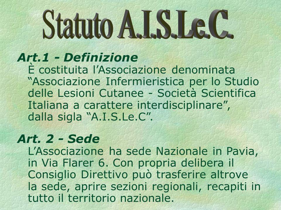 Art.1 - Definizione È costituita lAssociazione denominata Associazione Infermieristica per lo Studio delle Lesioni Cutanee - Società Scientifica Italiana a carattere interdisciplinare, dalla sigla A.I.S.Le.C.