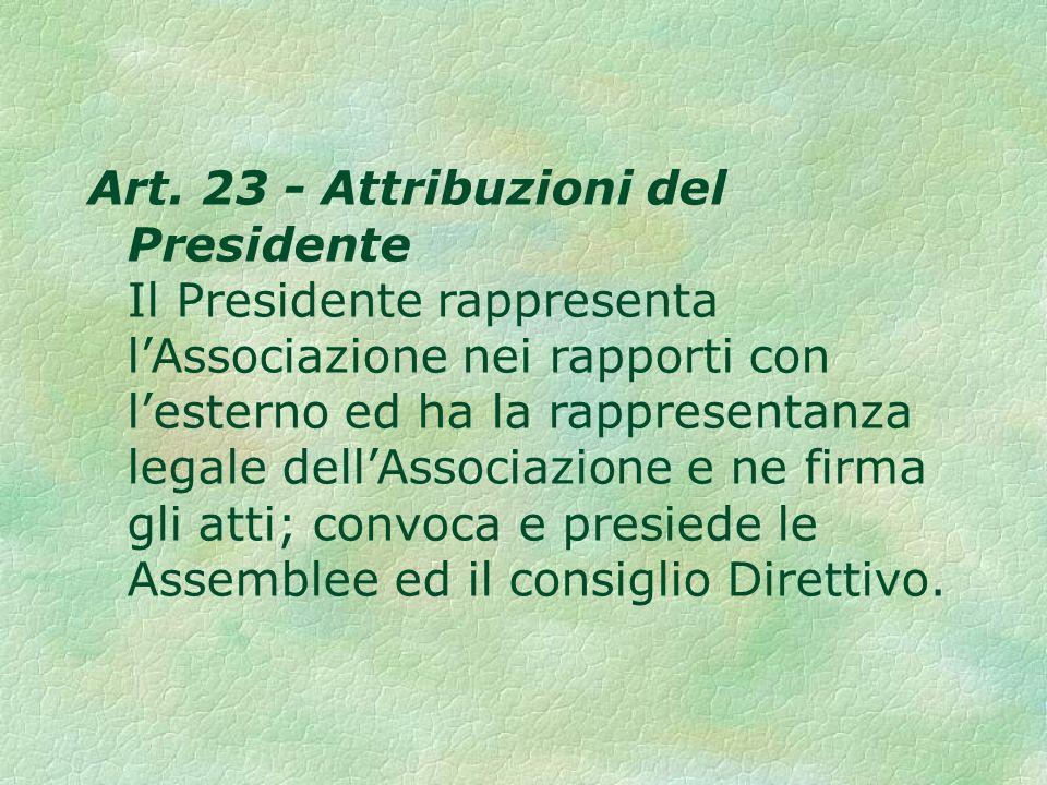 Art. 23 - Attribuzioni del Presidente Il Presidente rappresenta lAssociazione nei rapporti con lesterno ed ha la rappresentanza legale dellAssociazion