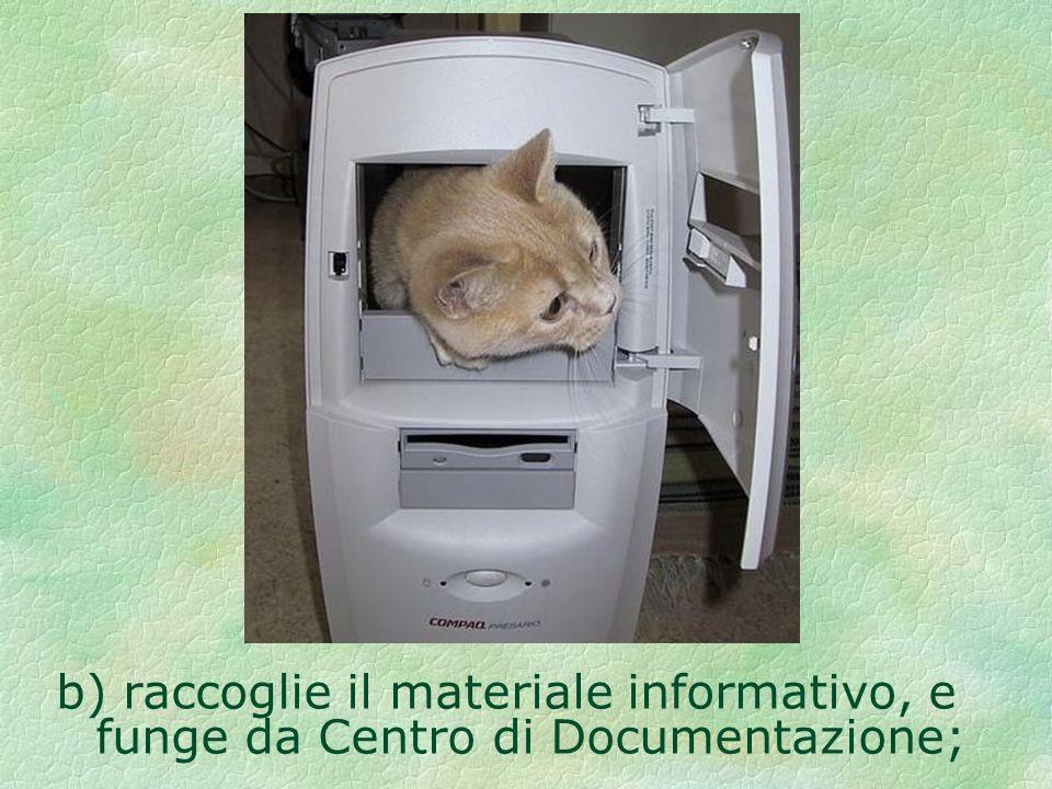 b) raccoglie il materiale informativo, e funge da Centro di Documentazione;