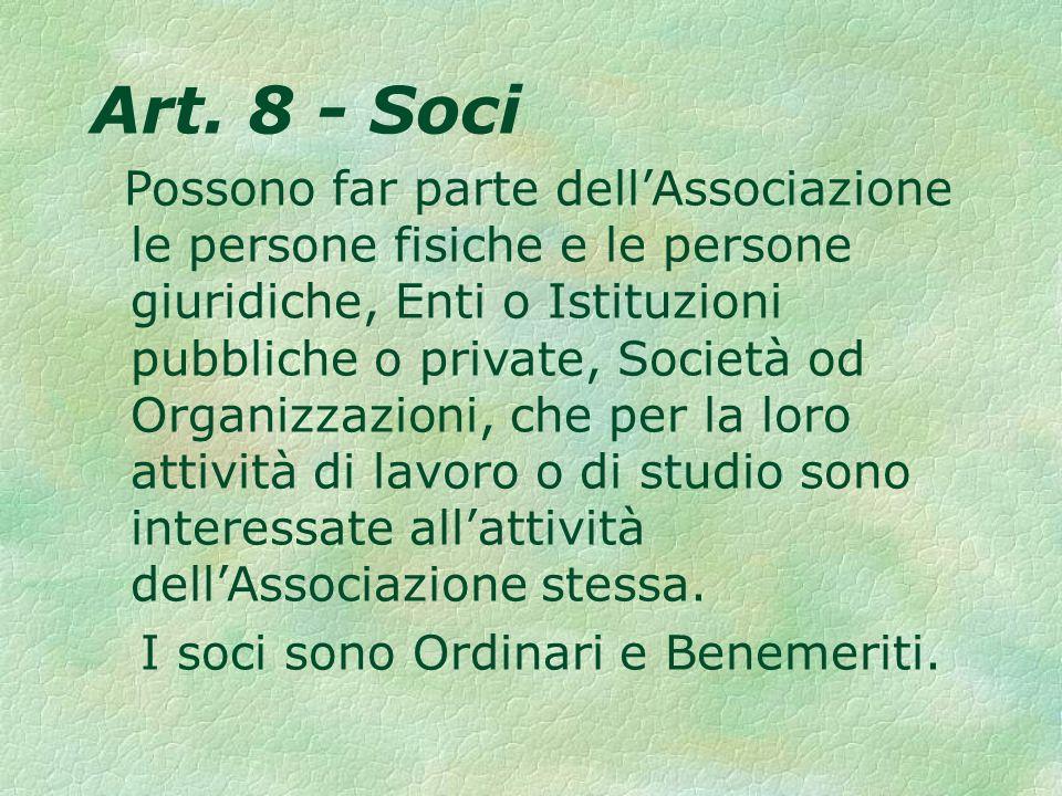 Art. 8 - Soci Possono far parte dellAssociazione le persone fisiche e le persone giuridiche, Enti o Istituzioni pubbliche o private, Società od Organi