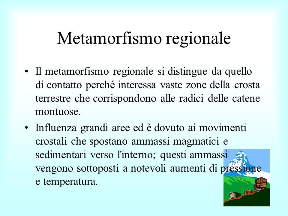 Metamorfismo regionale Negli strati più superficiali prevale l aumento della pressione per cui si formano rocce tipicamente scistose, sfaldabili in lastre secondo piani paralleli (es.