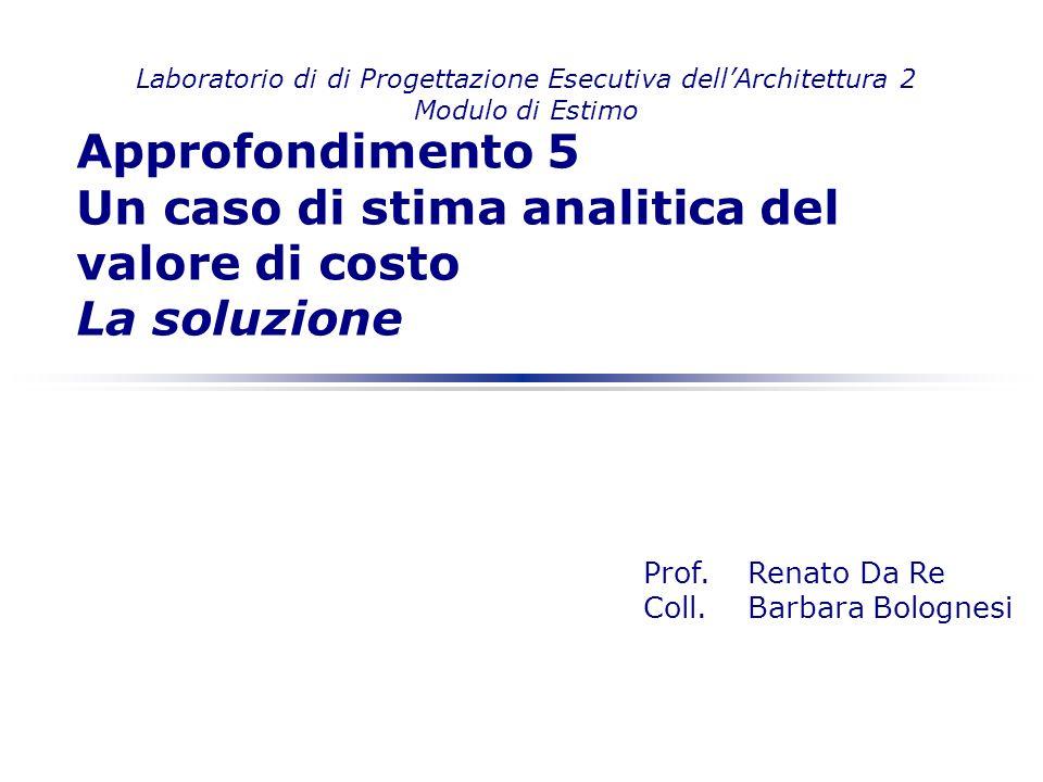 Laboratorio di di Progettazione Esecutiva dellArchitettura 2 Modulo di Estimo Prof. Renato Da Re Coll.Barbara Bolognesi Approfondimento 5 Un caso di s