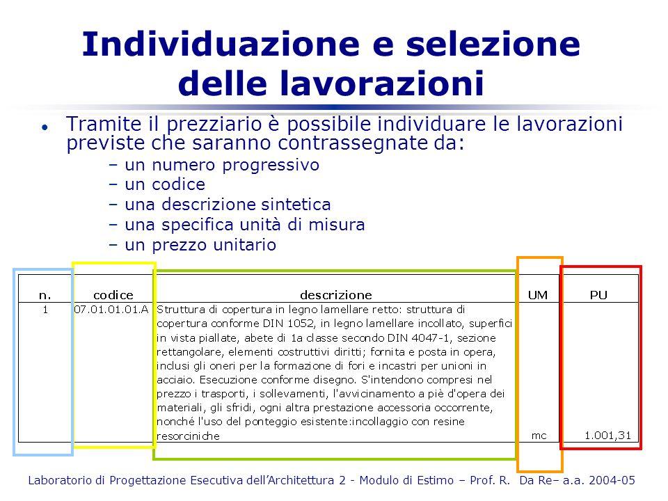 Laboratorio di Progettazione Esecutiva dellArchitettura 2 - Modulo di Estimo – Prof. R. Da Re– a.a. 2004-05 Individuazione e selezione delle lavorazio