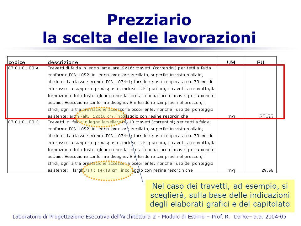 Laboratorio di Progettazione Esecutiva dellArchitettura 2 - Modulo di Estimo – Prof. R. Da Re– a.a. 2004-05 Prezziario la scelta delle lavorazioni Nel