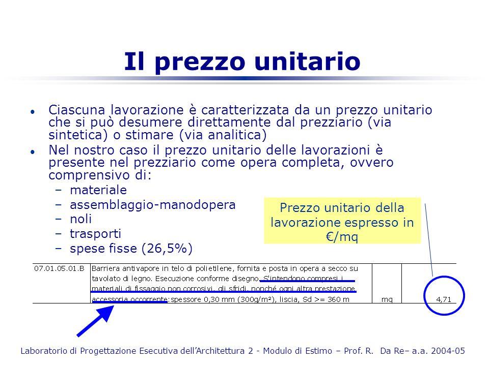 Laboratorio di Progettazione Esecutiva dellArchitettura 2 - Modulo di Estimo – Prof. R. Da Re– a.a. 2004-05 Il prezzo unitario l Ciascuna lavorazione