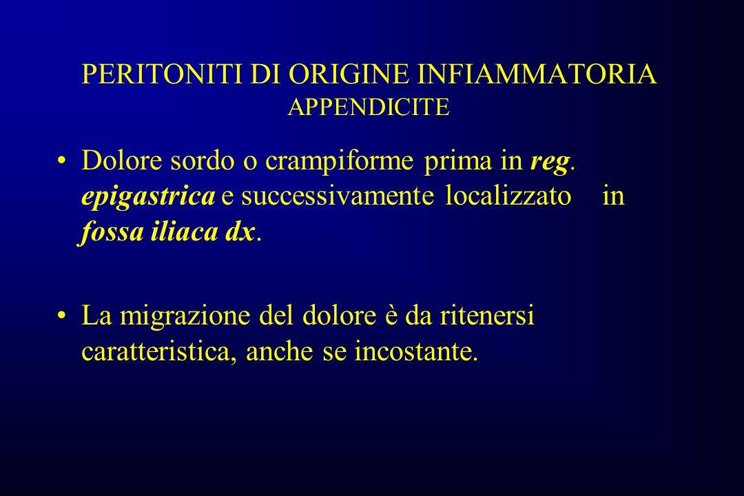 PERITONITI DI ORIGINE INFIAMMATORIA APPENDICITE Dolore sordo o crampiforme prima in reg.