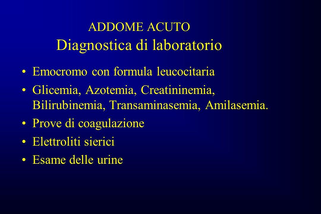 ADDOME ACUTO Diagnostica di laboratorio Emocromo con formula leucocitaria Glicemia, Azotemia, Creatininemia, Bilirubinemia, Transaminasemia, Amilasemia.