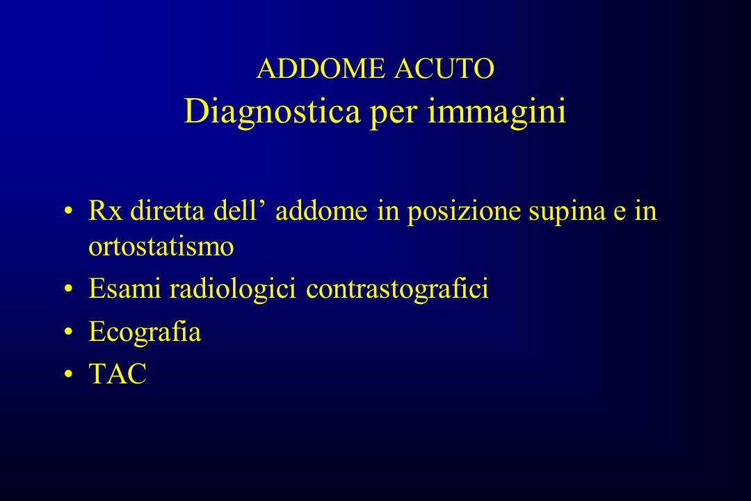 ADDOME ACUTO Diagnostica per immagini Rx diretta dell addome in posizione supina e in ortostatismo Esami radiologici contrastografici Ecografia TAC