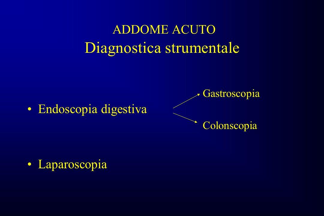 ADDOME ACUTO Diagnostica strumentale Endoscopia digestiva Laparoscopia Gastroscopia Colonscopia