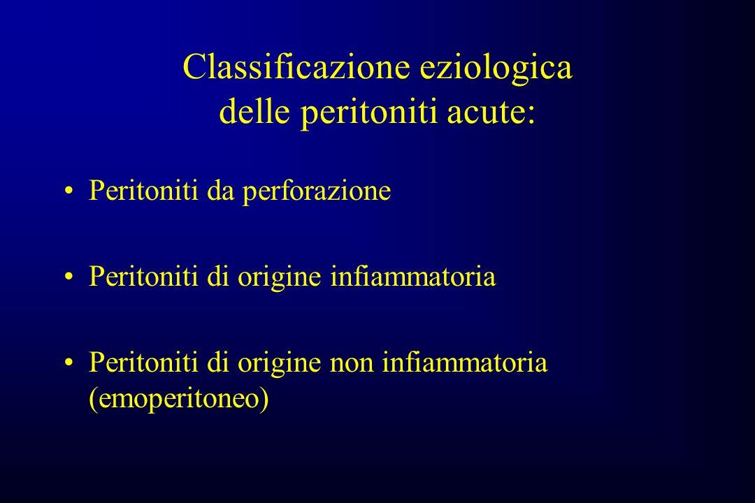 Classificazione eziologica delle peritoniti acute: Peritoniti da perforazione Peritoniti di origine infiammatoria Peritoniti di origine non infiammatoria (emoperitoneo)
