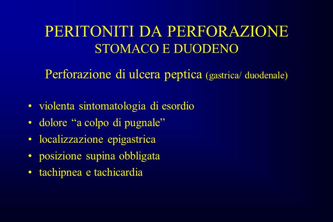 PERITONITI DA PERFORAZIONE STOMACO E DUODENO Dopo 4-6 ore ipotensione e shock progressiva distensione addominale ileo adinamico E.