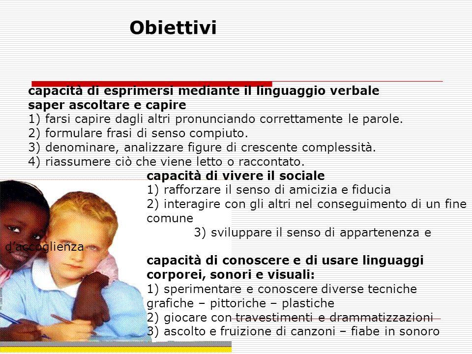 capacità di esprimersi mediante il linguaggio verbale saper ascoltare e capire 1) farsi capire dagli altri pronunciando correttamente le parole.