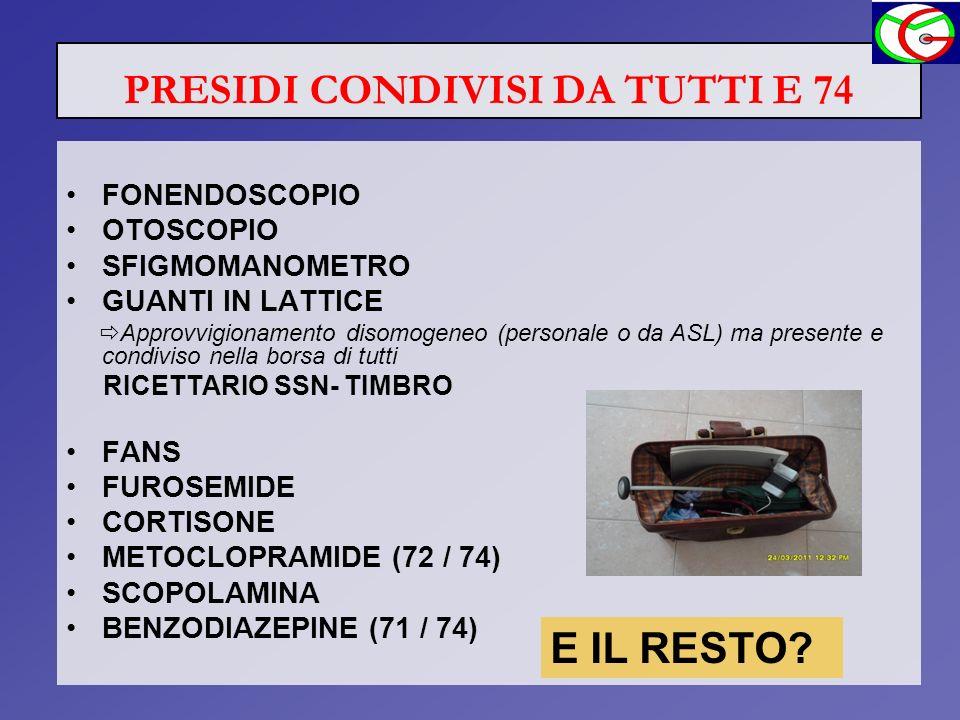 PRESIDI CONDIVISI DA TUTTI E 74 FONENDOSCOPIO OTOSCOPIO SFIGMOMANOMETRO GUANTI IN LATTICE Approvvigionamento disomogeneo (personale o da ASL) ma prese
