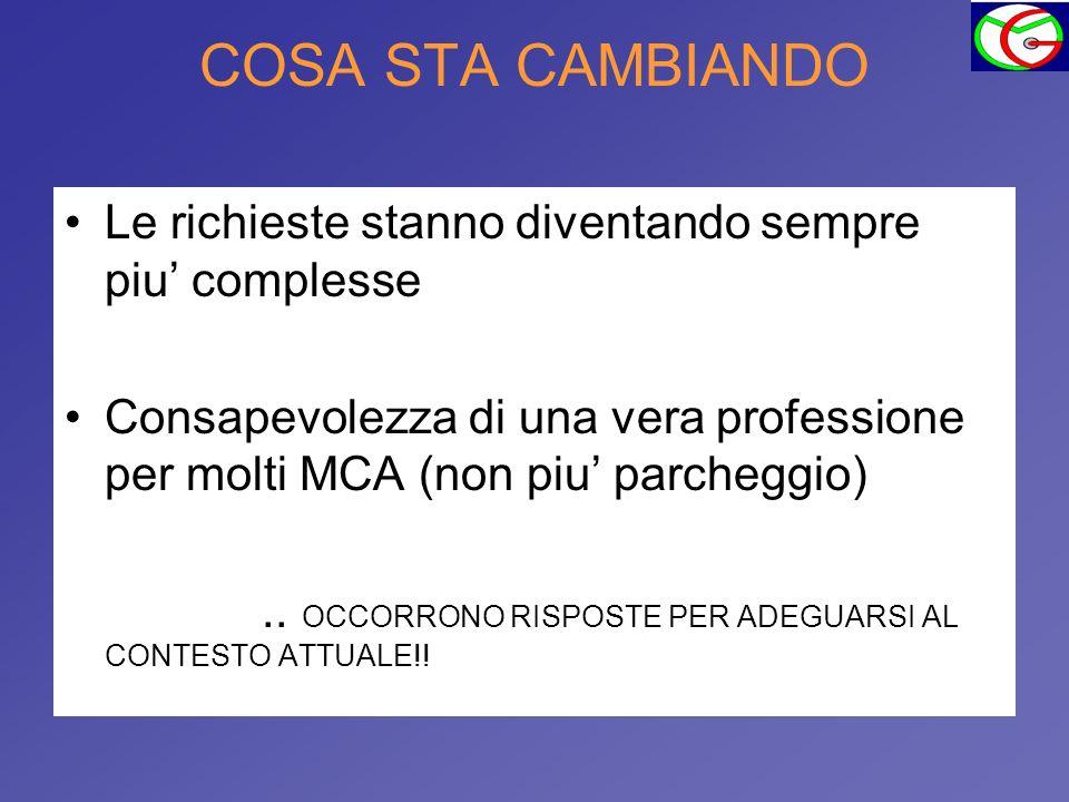 COSA STA CAMBIANDO Le richieste stanno diventando sempre piu complesse Consapevolezza di una vera professione per molti MCA (non piu parcheggio).. OCC