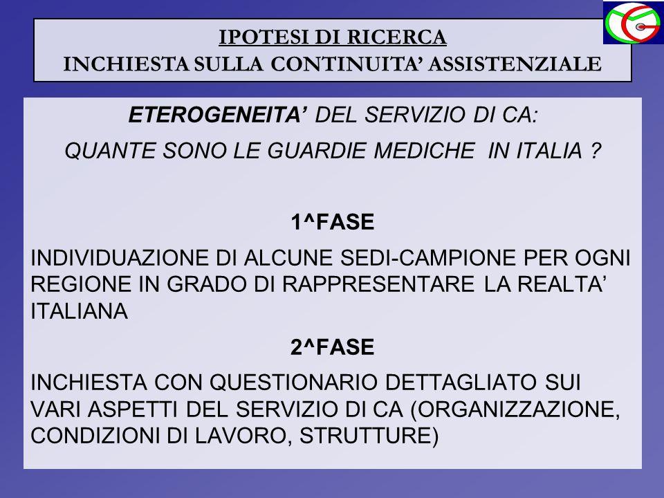 ETEROGENEITA DEL SERVIZIO DI CA: QUANTE SONO LE GUARDIE MEDICHE IN ITALIA ? 1^FASE INDIVIDUAZIONE DI ALCUNE SEDI-CAMPIONE PER OGNI REGIONE IN GRADO DI
